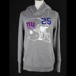 VS Pink Love You NY Giants Gray Hoodie Size Large